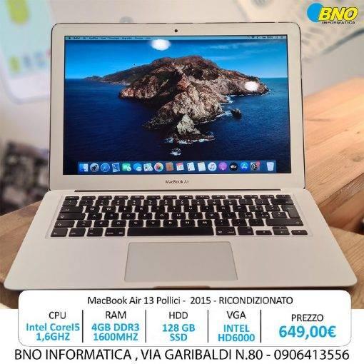 Apple MacBook Air 13.3? intel® Dual-Core i5 Early 2015 (Ricondizionato)